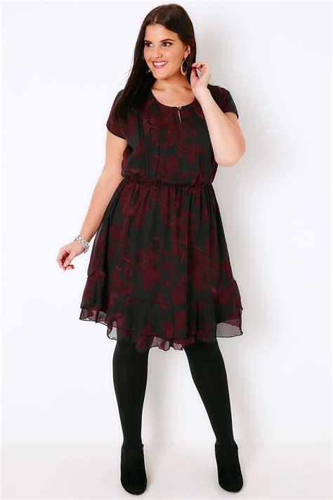 43114 Black Leaves Dress black wine leaf print tea dress with ruffled hem plus size 16 to 36