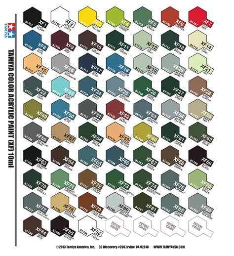 tamiya acrylic paint color chart car interior design