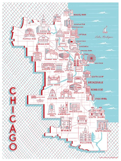 chicago map in r here s a chicago neighborhood map of notable landmarks