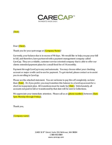 Letter To Credit Card Company To Account Due To Carecap 90 Day Past Due Letter Generic