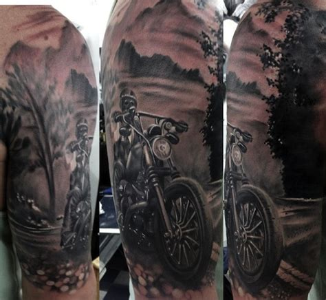 7 motorbike tattoos on half sleeve