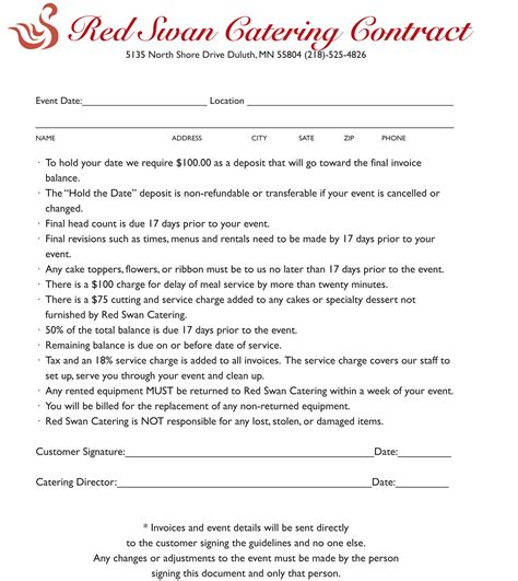 catering contract templates catering contract gallery cv letter and format