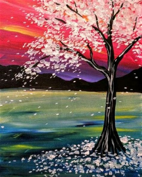 muse paintbar byob flowering cherry tree with sunset and purple shadows