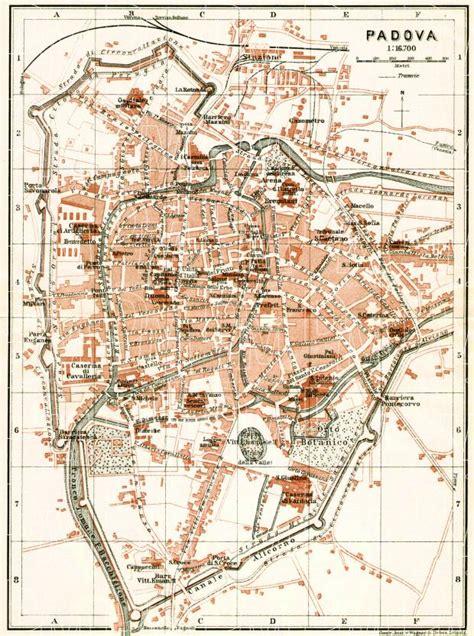 padua map map of padua in 1908 buy vintage map replica