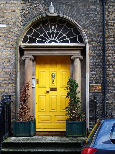 bright yellow door grey house with yellow red front door design ideas 2017