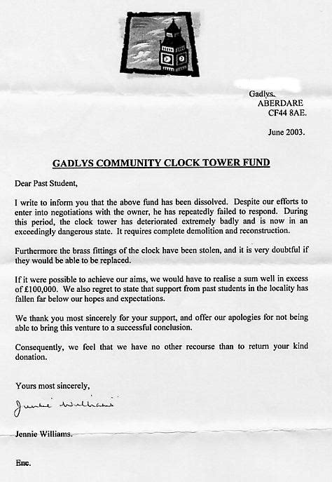 Appeal Letter Sle Uk Aberdare Boys Grammar School The Clock Tower Appeal