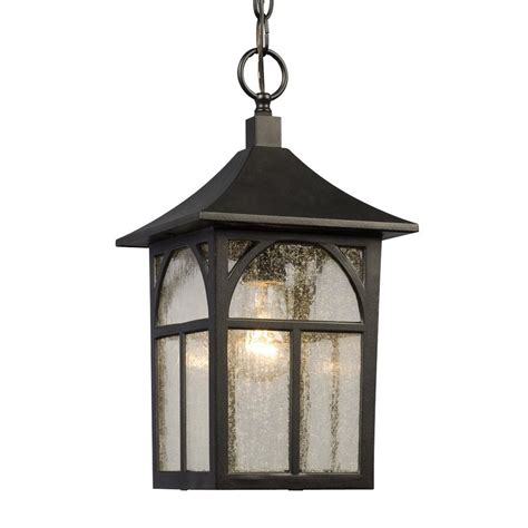 Lowes Hanging Lights by Shop Galaxy 15 125 In Black Outdoor Pendant Light At Lowes
