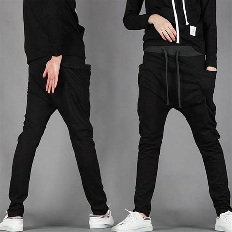 Mens Jogger Casual Black mens casual baggy joggers sportwear harem
