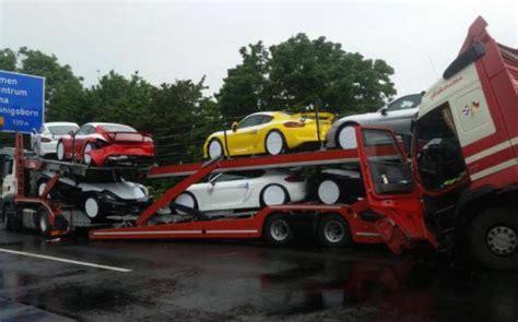 porsche truck 2006 truck hauling porsche cayman gt4s gets rear ended