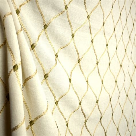 embroidered drapery fabric engaging ecru cream embroidered trellis fabric
