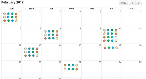 json display event color dots fullcalendar