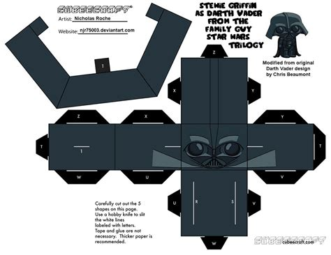 Papercraft Darth Vader - cubee family wars stewie as vader 1 2 by njr75003