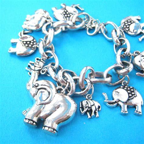 elephant shaped charms bracelet in silver