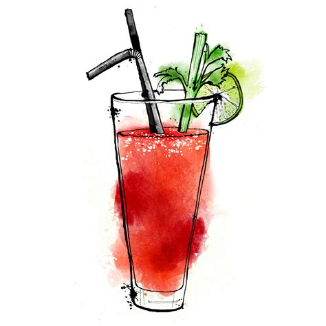 cocktail illustration this week s friday tipple a bloody mary lisa maltby