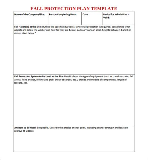 10 Fall Protection Plan Templates Sle Templates Fall Protection Template