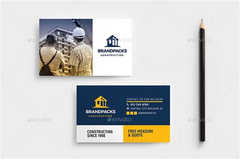 Construction Business Card Template By Brandpacks Graphicriver Templates For Construction Companies