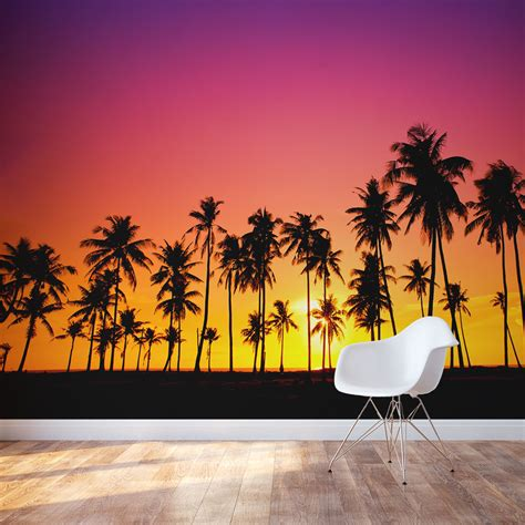 palm tree wall murals palm tree sunset wall mural