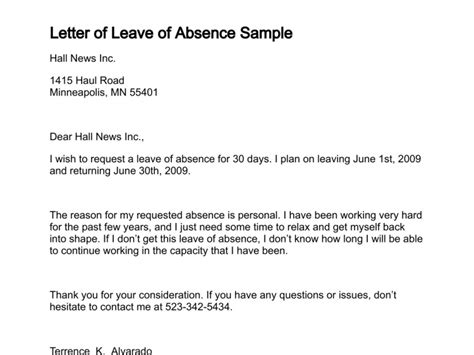 Letter Of Intent Sle For Leave Of Absence Leave Of Absence Letter Free Printable Documents