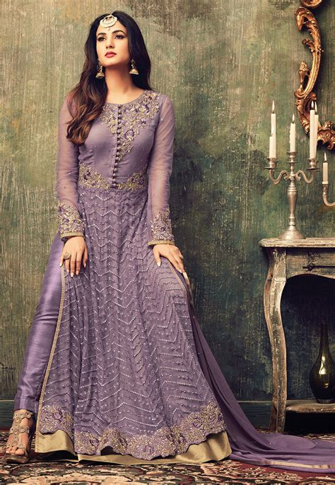 embroidered net abaya style suit  lilac kch