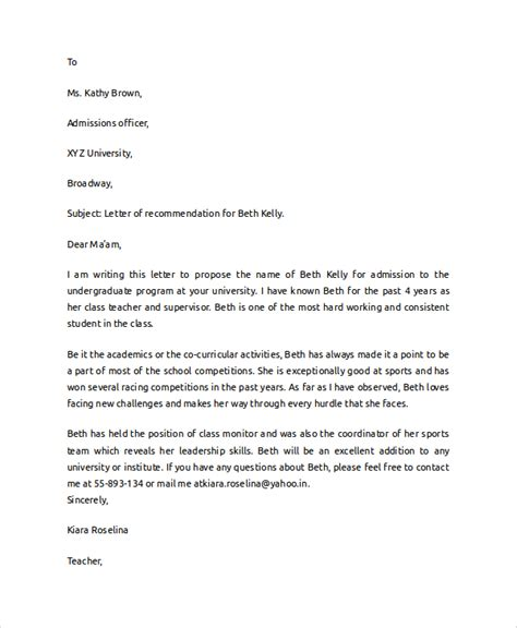 Recommendation Letter For A Student To College Sle College Recommendation Letter 6 Documents In Pdf Word