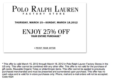 printable polo outlet coupons save 25 at the polo ralph lauren factory outlet this