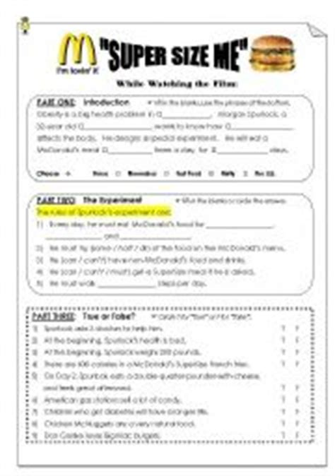 Supersize Me Worksheet Answers by Quot Size Me Quot Viewing Post Viewing Worksheet Workheet N