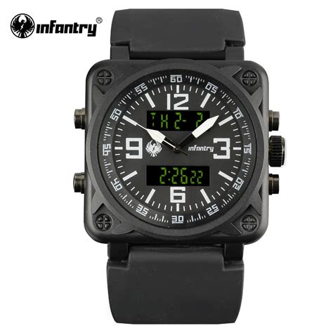 INFANTRY Aviator Watch Square Face Mens Quartz Digital Wristwatches Navy Sports Watches Black