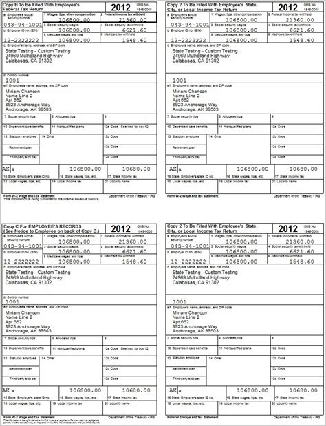 Printable W2 Form 2013 Form Resume Exles X0zav6jzjd 4 Up W2 Template