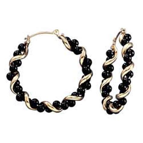 black onyx and 14k gold twisted hoop earrings findgift