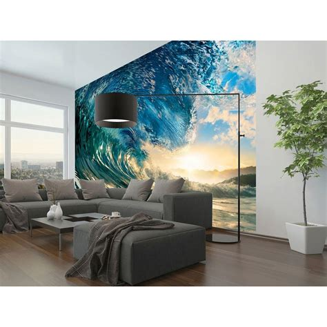 home depot wall murals ideal decor 144 in w x 100 in h the wave wall mural dm962 the home depot