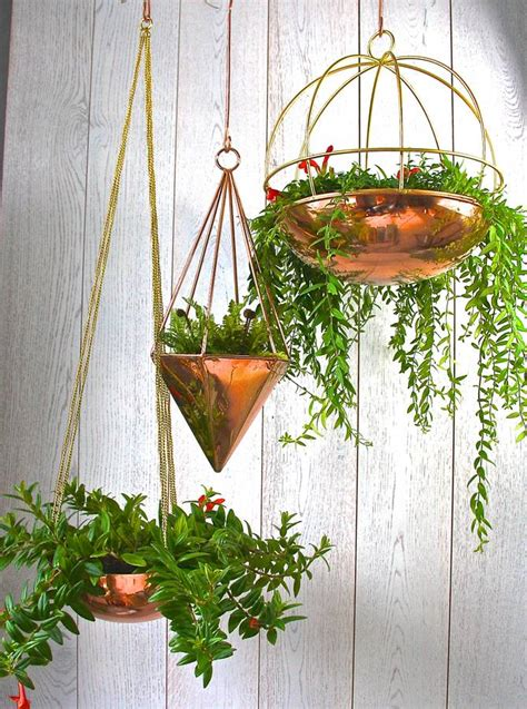copper geometric hanging planter by london garden trading