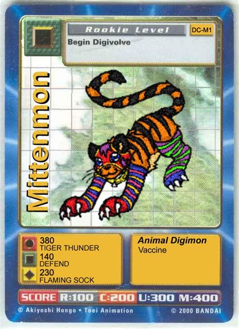 digimon card template card mittenmon at trade cards
