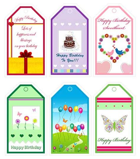 Printable Birthday Gift Tags Cards - thanksgiving printable tag free download party invitations ideas