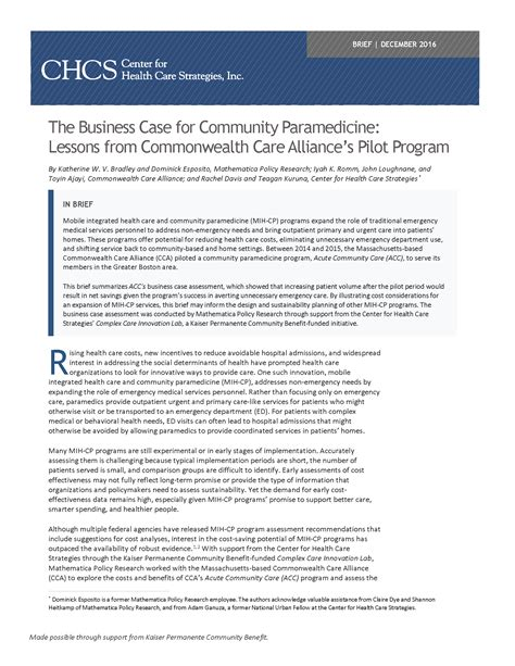 the one care program at commonwealth care alliance partnering the business case for community paramedicine lessons from