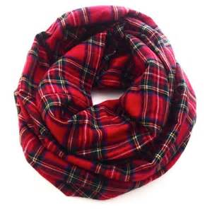 Plaid Infinity Scarf Plaid Infinity Scarf Flannel Winter Scarf