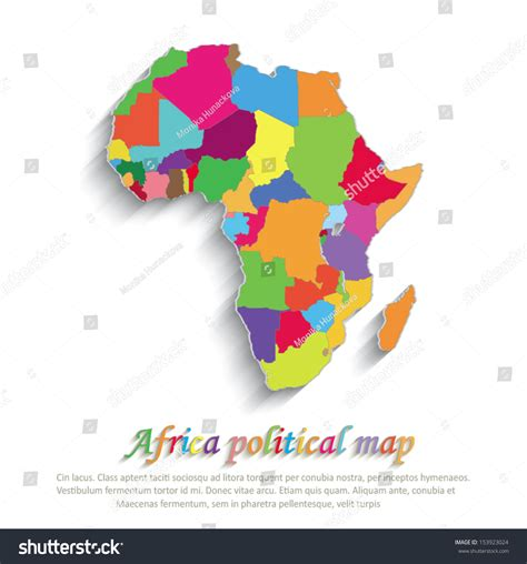 3d africa map vector vector africa political colors map paper stock vector