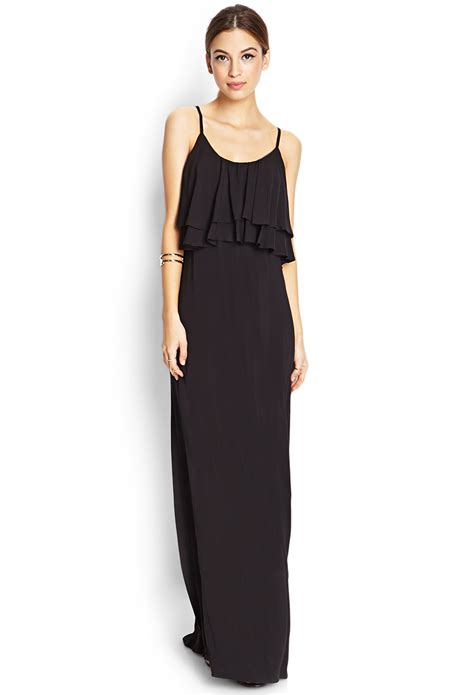 Dress Forever21 Black forever 21 flounced maxi dress in black lyst