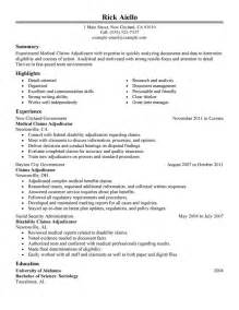 Best Medical Claims Adjudicator Experienced Resume Example