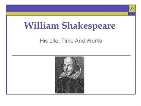 shakespeare powerpoint template william shakespeare and works authorstream