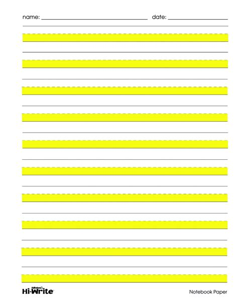 printable highlighted writing paper abilitations wide ruled notebook paper school specialty