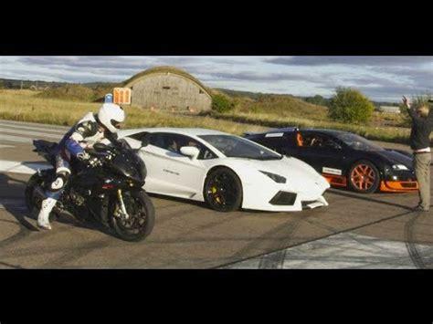 Motorcycle Vs Lamborghini by Ultra Hd 4k Drag Race Bugatti Veyron Vitesse Vs Lambo