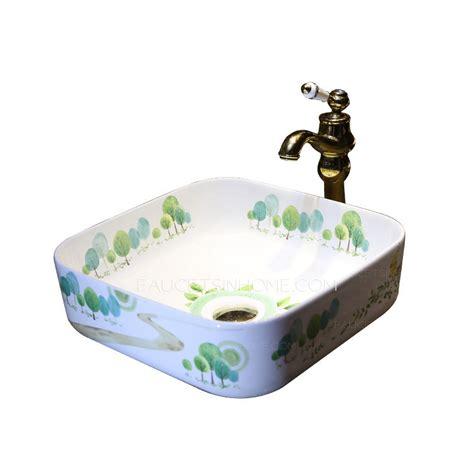 white square vessel sink white square porcelain vessel sinks tree pattern single bowl