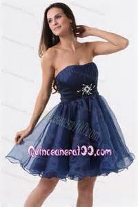 a line strapless navy blue beading ruching organza dresses