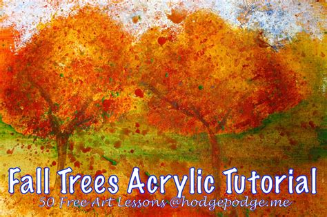 acrylic painting lesson ideas fall trees acrylic lesson at hodgepodge hodgepodge