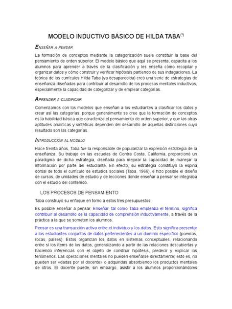 Pasos Modelo Curricular De Hilda Taba Modelo Inductivo B 225 Sico De Hilda Taba