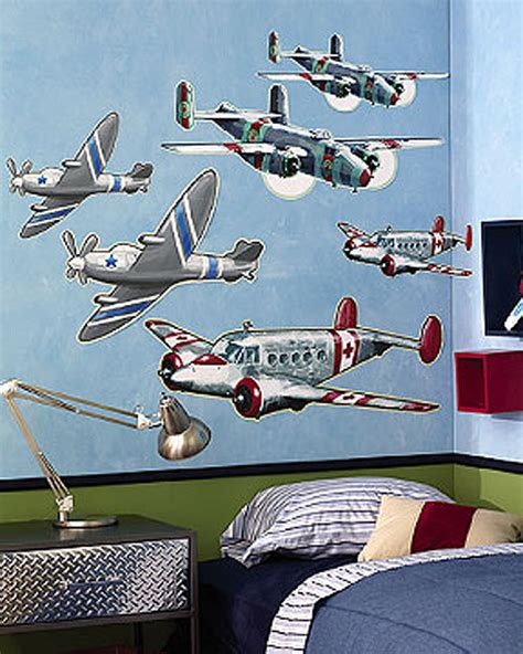 airplane wall murals vintage airplanes 6 lg wall murals decals sticker boys room airforce army decor ebay