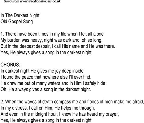 darkest hour lyrics in the darkest night christian gospel song lyrics and chords