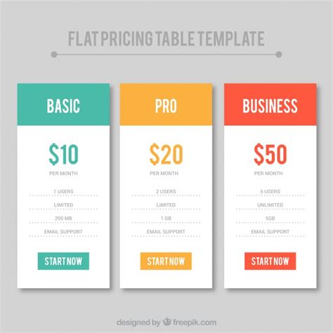 10 flat pricing table tags templates psd for plan design set of flat price table templates vector free download