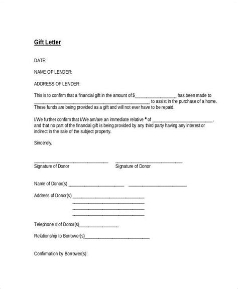 gift letters gift letter letters free sle letters
