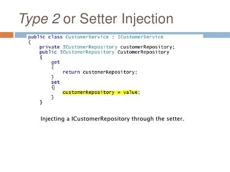 dependency injection constructor or setter dependency inversion principle